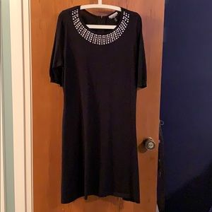 Black rayon and polyester knit dress
